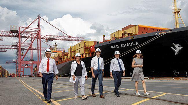 MSC da la bienvenida al Primer Ministro de Canadá en el Puerto de Montreal