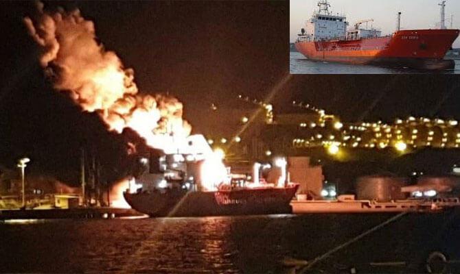Explosión e incendio a bordo de un petrolero italiano de GLP