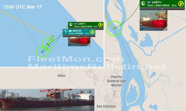 Un buque granelero tipo Panamax esta encallado en el río Paraná