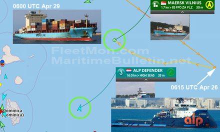 Buque portacontenedores de la Maersk quedo a la deriva en el Caribe tras el incendio de la sala de máquinas