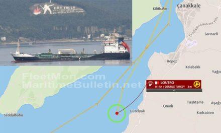 Buque tanquero fue remolcado estando a la deriva por fallas en la zona de Dardanelos