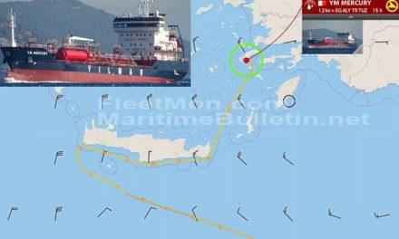 El buque petrolero YM MERCURY sufrió un fallo en el motor en el Mediterráneo