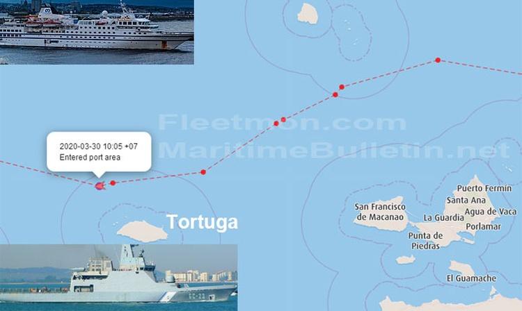 Un crucero hundió un barco de la marina armada venezolana y huyó