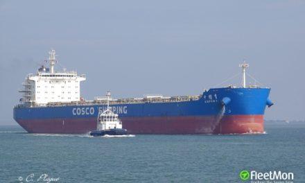 El buque granelero COSCO panamax estuvo varado en Argentina