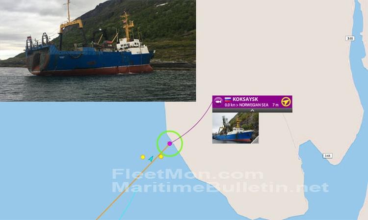 Arrastrero ruso encallado en Noruega