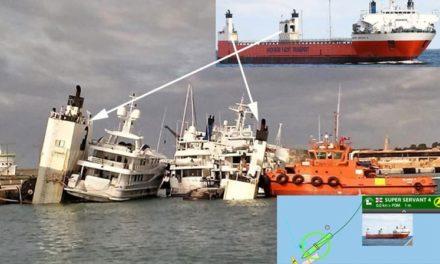 Barco de carga pesada con 5 yates de lujo en su cubierta casi se volcó en Mallorca