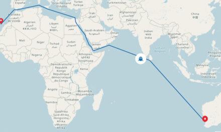 """""""Bajamar Express"""", en viaje de Maldivas al canal de Suez"""