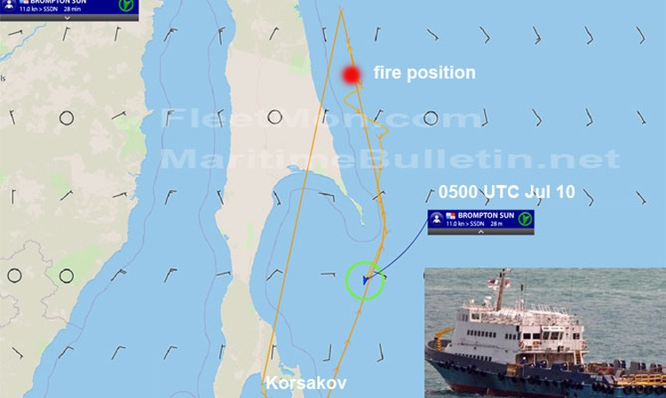 Incendio a bordo de un barco supply en el mar de Okhotsk