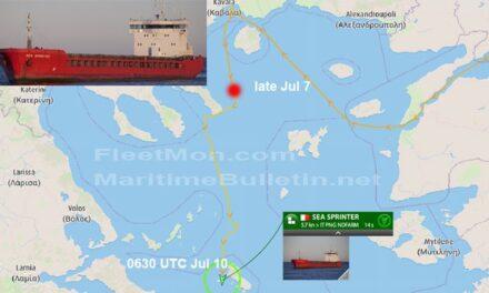 Un buque carguero ruso averiado fue remolcado en el Mar Egeo