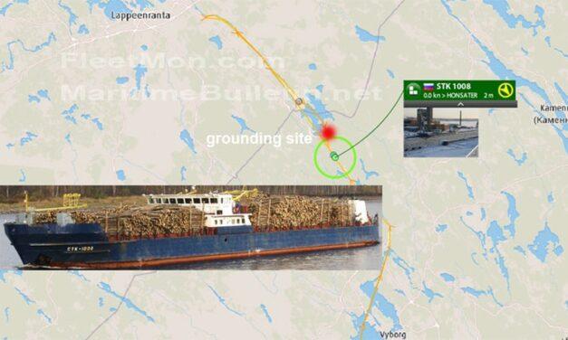 Un buque de carga ruso encalló en el canal de Saimaa