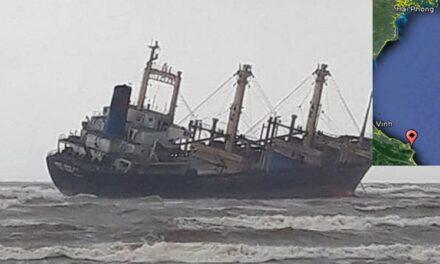 Buque de carga general varado por tormenta en Vietnam, 16 tripulantes rescatados
