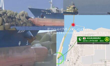 Buque de carga se estrelló contra un rompeolas en Japón