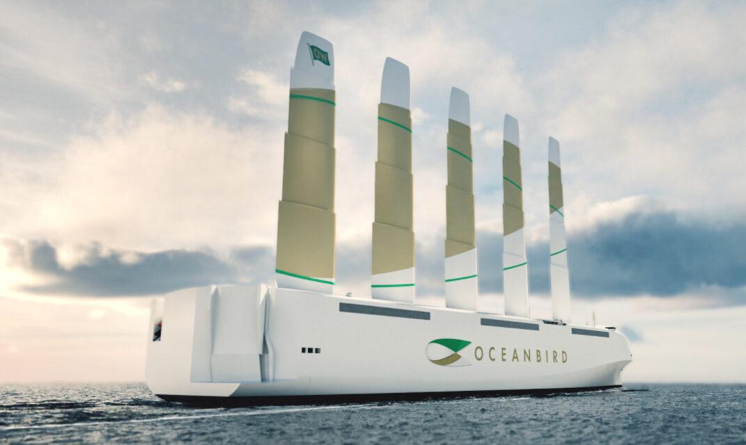 El modelo Oceanbird equipado con las cuatro velas, listo para la recolección de datos y la prueba