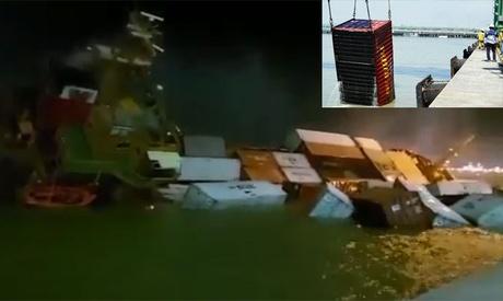 Buque portacontenedores encalla en el canal de Suez