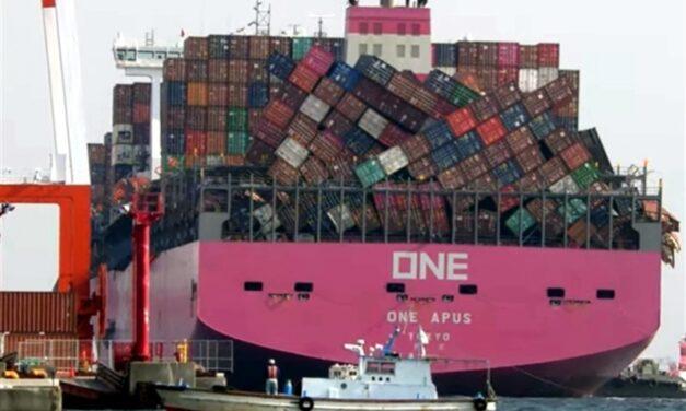 ONE: Desestiba de contenedores desencajados del «ONE APUS» tardará más de un mes
