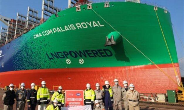 Astillero CSSC concreta entrega del buque propulsado por GNL de 23.112 TEUS «CMA CGM Palais Royal»