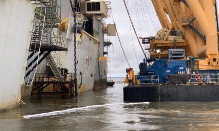Segundo corte en la remoción del naufragio del Golden Ray