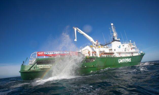 Greenpeace bloquea la pesca destructiva con una nueva «barrera de rocas» frente a la costa de Brighton