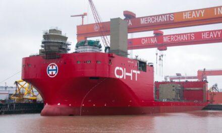 El nuevo buque de instalación de cimientos eólicos marinos «Alfa Lift» es botado en China
