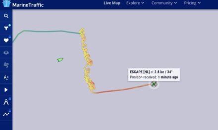 Un portacontenedor holandés con el timón atascado da vueltas en el Mar del Norte -AIS
