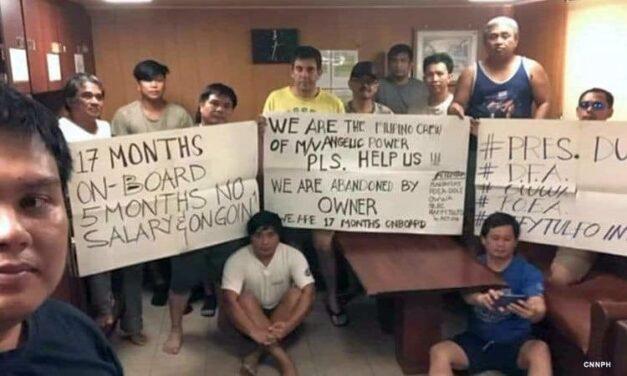 Los marinos filipinos piden ayuda tras permanecer 17 meses varados en China