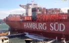 Ver: Un buque de «Hamburg Süd» se lleva el muelle de carga de pasajeros en Santos, Brasil