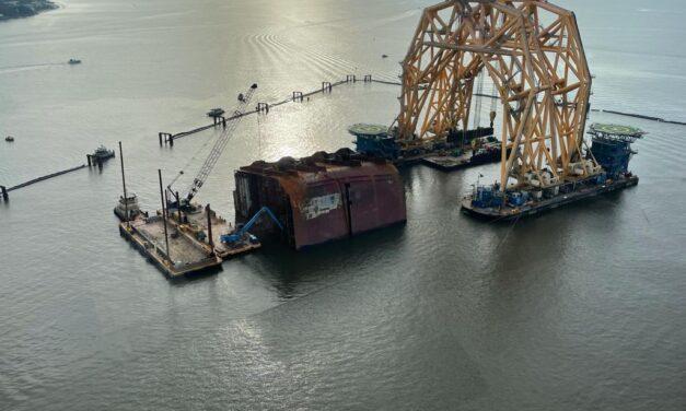 La desmantelación del naufragio del Golden Ray pasa al corte final