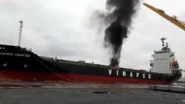 Vídeo: Incendio de un contenedor a bordo de un Buque  atracado en Vietnam