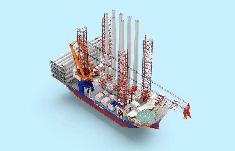 Van Oord encarga un «mega» buque de instalación de aerogeneradores